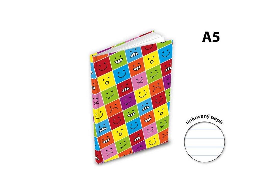 Záznamová kniha A5 100l linka smajlík