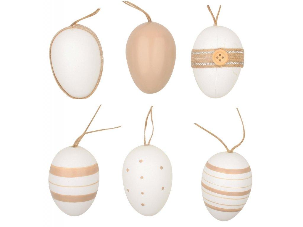 Vajíčka plastová na zavěšení 6 cm, 6 ks v sáčku
