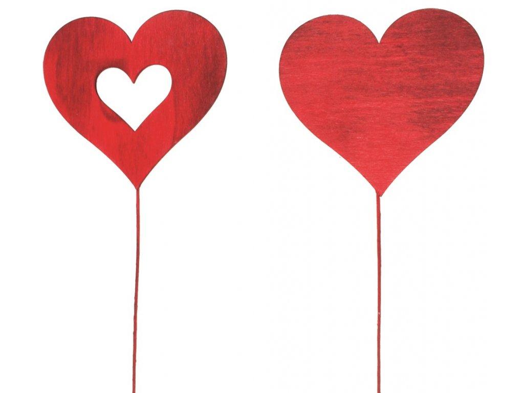 Dekorace Drevene Srdce 8cm Cervene Dratek Papirnictvi U Dvou