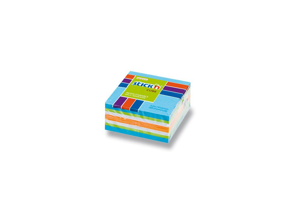 Bloček samolepící Stick in mix modrý 51 x 51 mm 50 listů