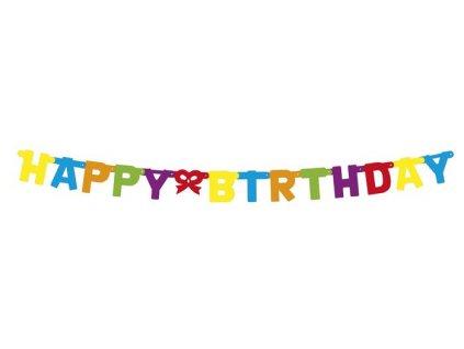 Girlanda narozeninová papírová Happy birthday