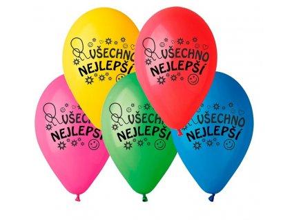 Balónky s potiskem Všechno nejlepší,10 kusů