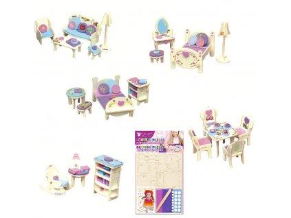 Dřevěné puzzle - nábytek snů 20x15cm