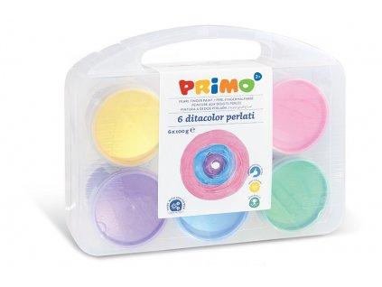 Prstové barvy PRIMO, perleťové, sada 6 x 100g, PP box