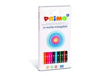 Pastelky trojboké PRIMO, tuha 3mm, 12 ks + ořezavátko