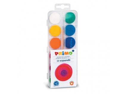 Vodové barvy PRIMO ECONOMY, průměr 25mm, 12ks+štětec