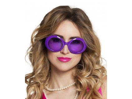 neonové plastové brýle fialové