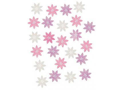 Dřevěné květy 2 cm, 24 ks