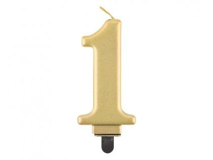swieczka cyferka 1 metalik zlota 8 0 cm