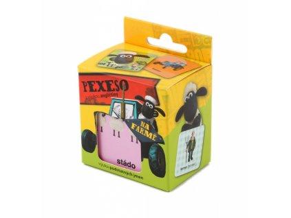 ovecka shaun na farme pexeso s vyukou anglictiny 36 karticek v krabicce 5 0
