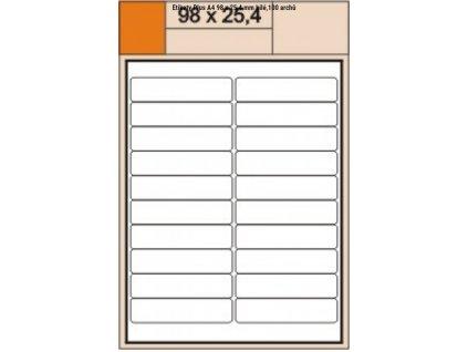 Samolepící etikety S+K label PLUS 98 x 25,4mm bílé A4/100 archů
