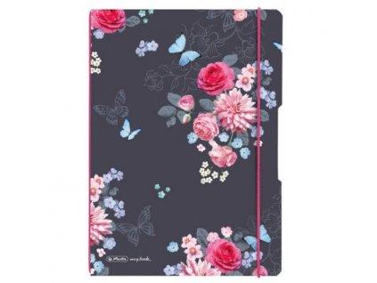 Sešit flex A4 40listů linka + 40listů čtvereček Ladylike květy