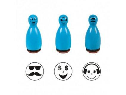 pieczatki emoji stemple kregle niebieskie 3 szt