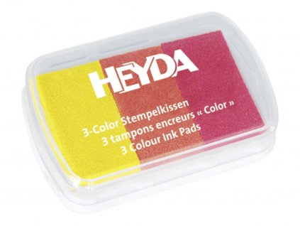 Razítkovací polštářek 3 barvy - žlutý/oranž./ červený