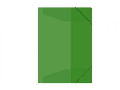 Složka s gumou M A4 zelená 3 klop.s gumou PP