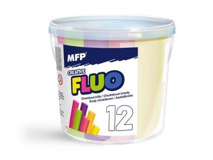 Křídy M chodníkové fluo kulaté 12ks mix barev - kyblík