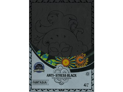 Antistresové omalovánky černé fantazie 21 x 30 cm, 4 ks