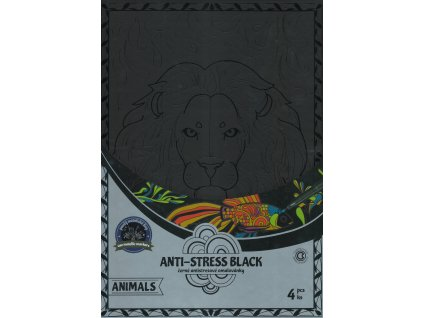 Antistresové omalovánky černé zvířata 21 x 30 cm, 4 ks