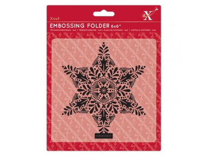 6x6 embossing folder foliage star