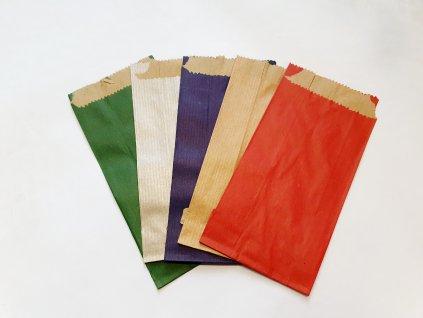 Sáček papírový KRAFT 8x16 5ks - mix barev červená, zelena, modrá, přírodní a stříbrná