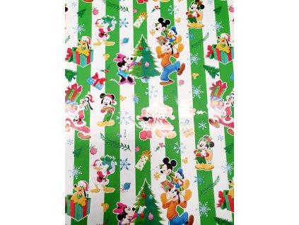 Papír balící vánoční 70x100 italský skládaný zelený Mickey