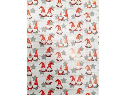 Papír balící vánoční 70x100 italský skládaný šedí trpaslíci