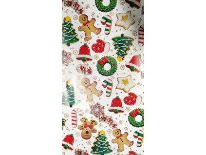 Papír balící vánoční 70x100 italský skládaný bílý s vánočním cukrovím