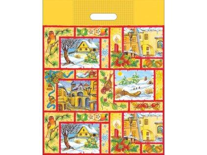 Taška  vánoční 46 x 35 zimní vesnička