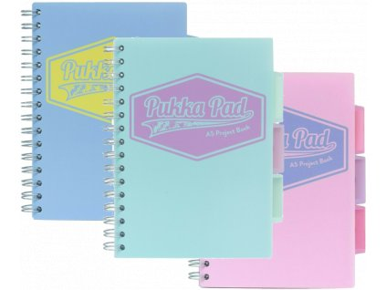 """Spirálový sešit """"Pastel project book"""", blue, A5, linkovaný, 100 listů, PUKKA PAD"""
