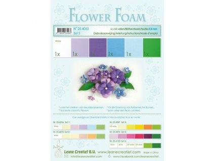 Pěnová guma na výrobu květin A4, 6ks - modro-zelená