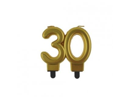 0014791 svicka narozeninova cislice 30 metalicka zlata 510