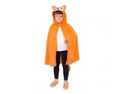 Pelerína Liška oranžová s kapucí délka od ramen