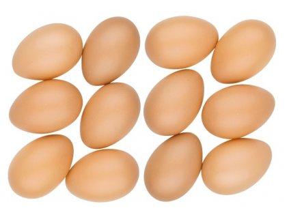 Vajíčka plastová 6 cm bez šňůrky, 12 ks v sáčku, hnědá