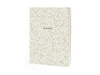 Skicák Floral (100g/m2, 112 listů) A5 bílé motivy
