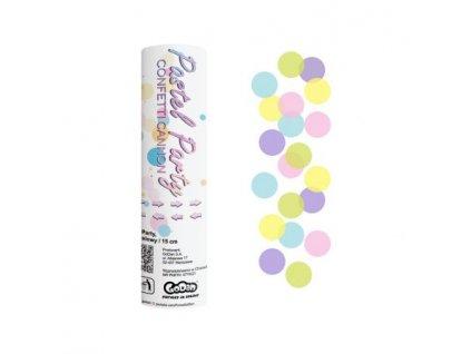 Konfety vystřelovací Pastel Party barevné kolečka