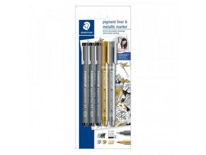 staedtler schreibset pigment liner metallic marker