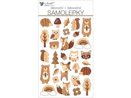 Samolepky plastické 14 x 25 cm, lesní zvířátka
