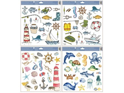 Okenní fólie moře a ryby 30x33,5 cm