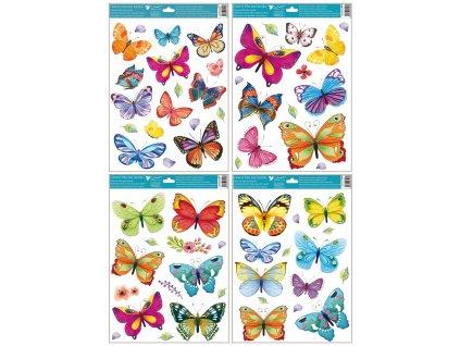 Okenní fólie barevní motýli 42x30 cm