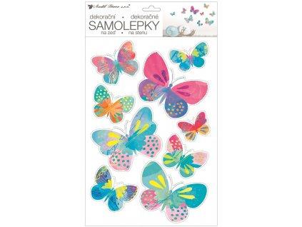Samolepky na zeď 42 x 25 cm, barevní motýlci