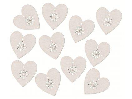 Srdce dřevěné s lepíkem 3 cm, bílá,12 ks