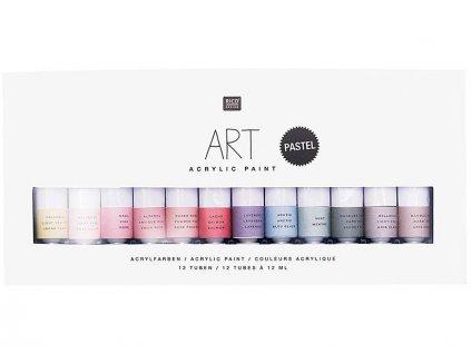Barva akrylová sada RI 12X12ml pastelové barvy