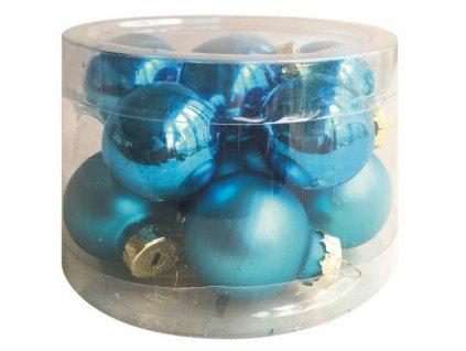 Sada skleněných baněk modrých 2,5 cm, 12ks