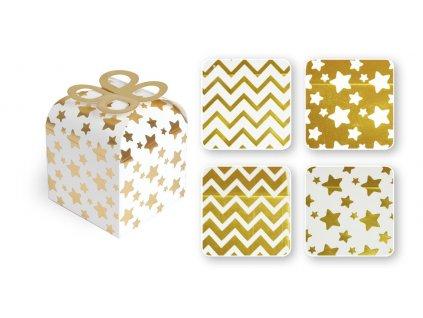 Krabička skládací zlatá ražba 18x9,5x9,5cm 2ks