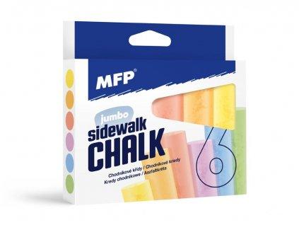 Křídy M chodníkové kulaté  6ks mix barev - krabička