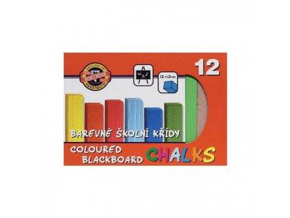 Křídy školní barevné 12 ks