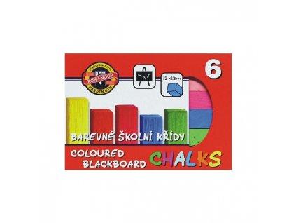 Křídy školní barevné 6 ks
