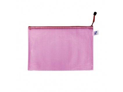 Obálka se zipem síťovaná A4 růžová