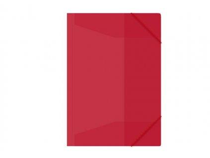 Složka s gumou M A4 červená 3 klop.s gumou PP