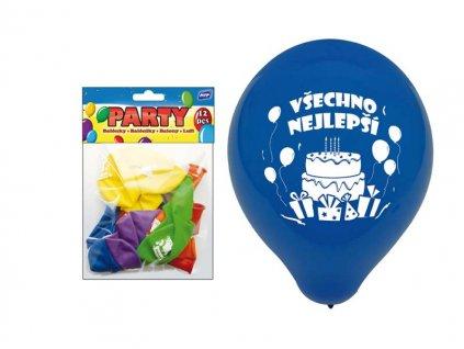 Balónek nafukovací 12ks sáček standard 23cm Všechno nejlepší mix